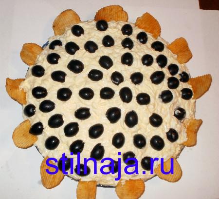 Салат Подсолнух, рецепт с чипсами.