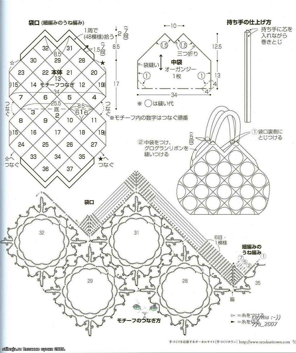 детальная схема вязания сумок крючком